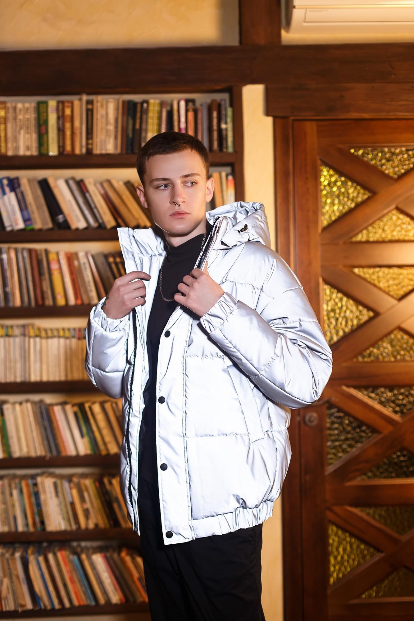 Мужская зимняя куртка V-01 серая рефлективная Vidlik