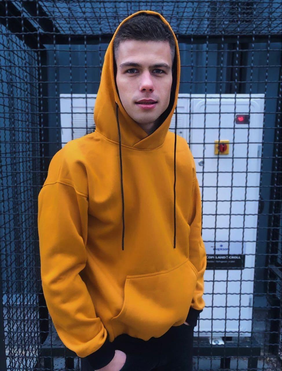 Мужское утеплённое худи  HD-01 оранжевый Vidlik