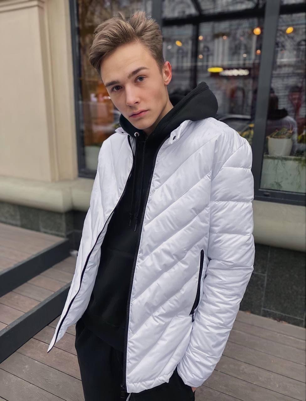 Мужская демисезонная стеганая куртка COS-01 белая Vidlik