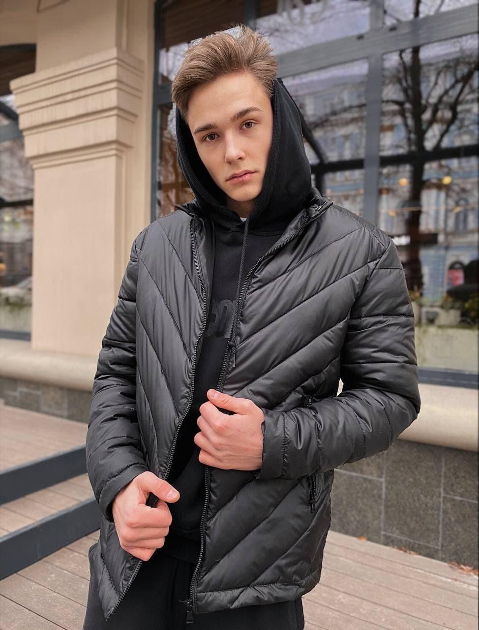Мужская демисезонная стеганая куртка COS-01 черная Vidlik