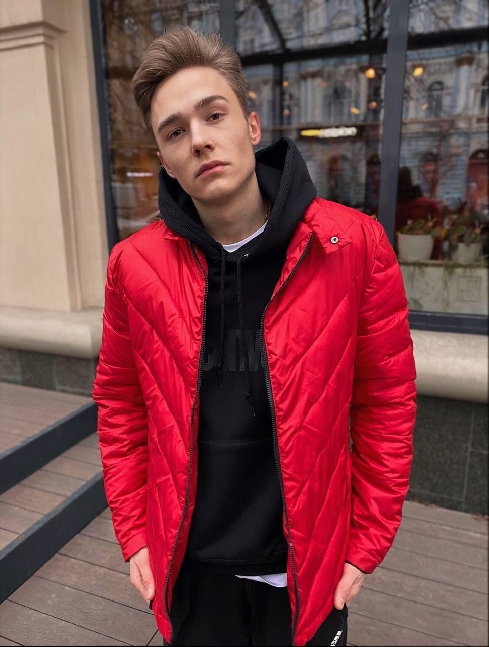 Мужская демисезонная стеганая куртка COS-01 красная Vidlik