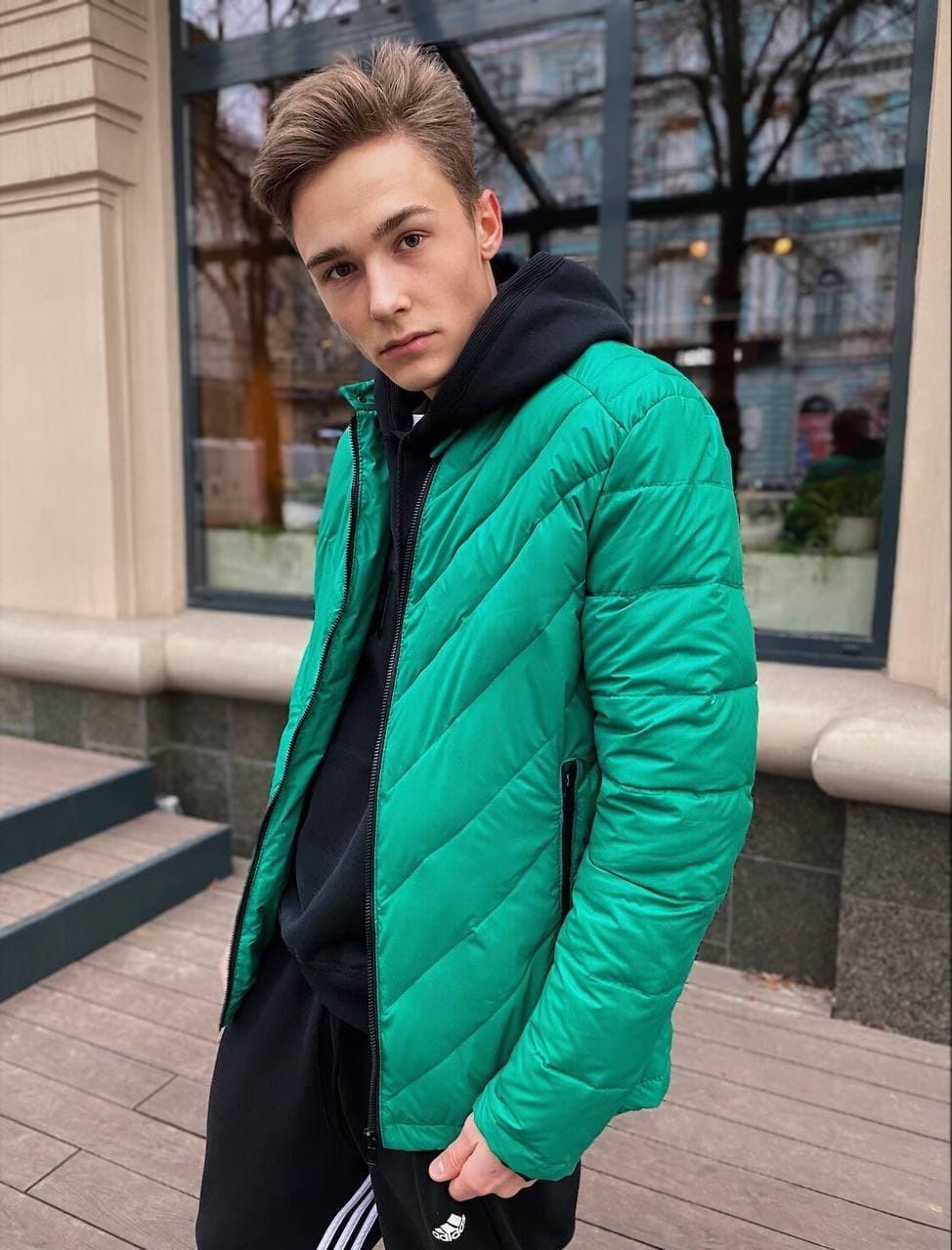 Мужская демисезонная стеганая куртка COS-01 зелёная Vidlik