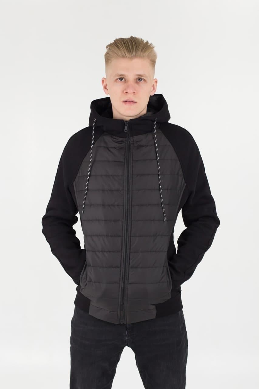Мужская демисезонная стеганая куртка комбинированная M10 черная Vidlik