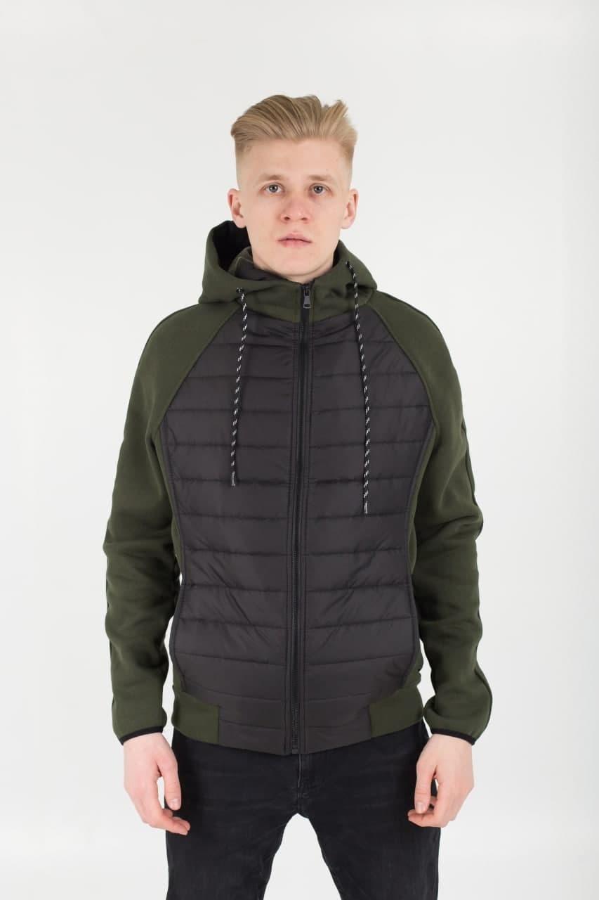 Мужская демисезонная стеганая куртка комбинированная M10 черная с хаки Vidlik