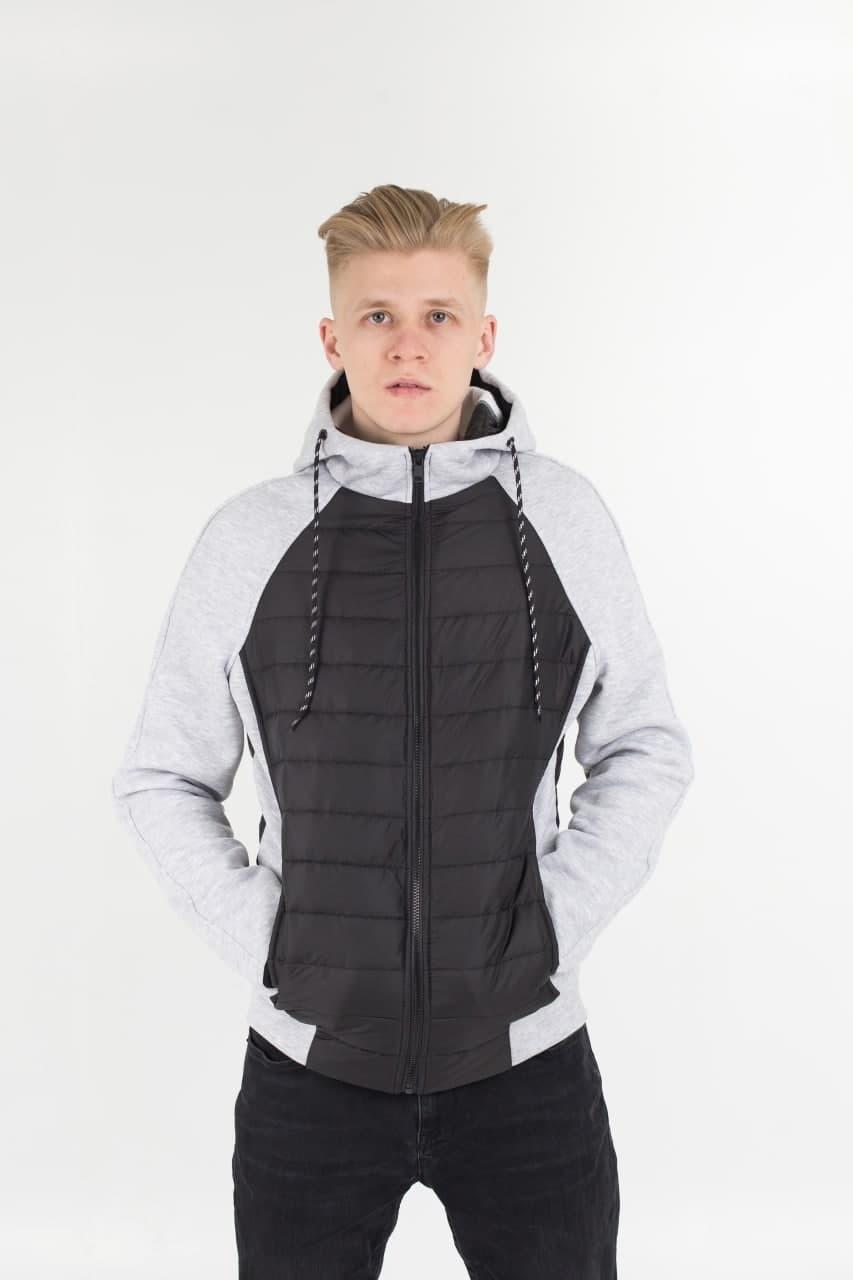 Мужская демисезонная стеганая куртка комбинированная M10 черная с серым Vidlik