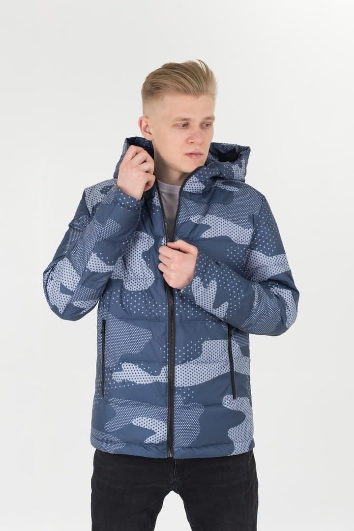Мужская демисезонная стеганая куртка с принтом Camo синяя Vidlik