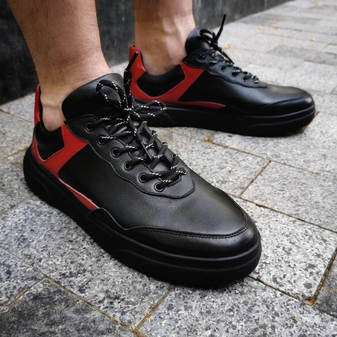 Мужские кроссовки кожаные F2 черные с красным Vidlik