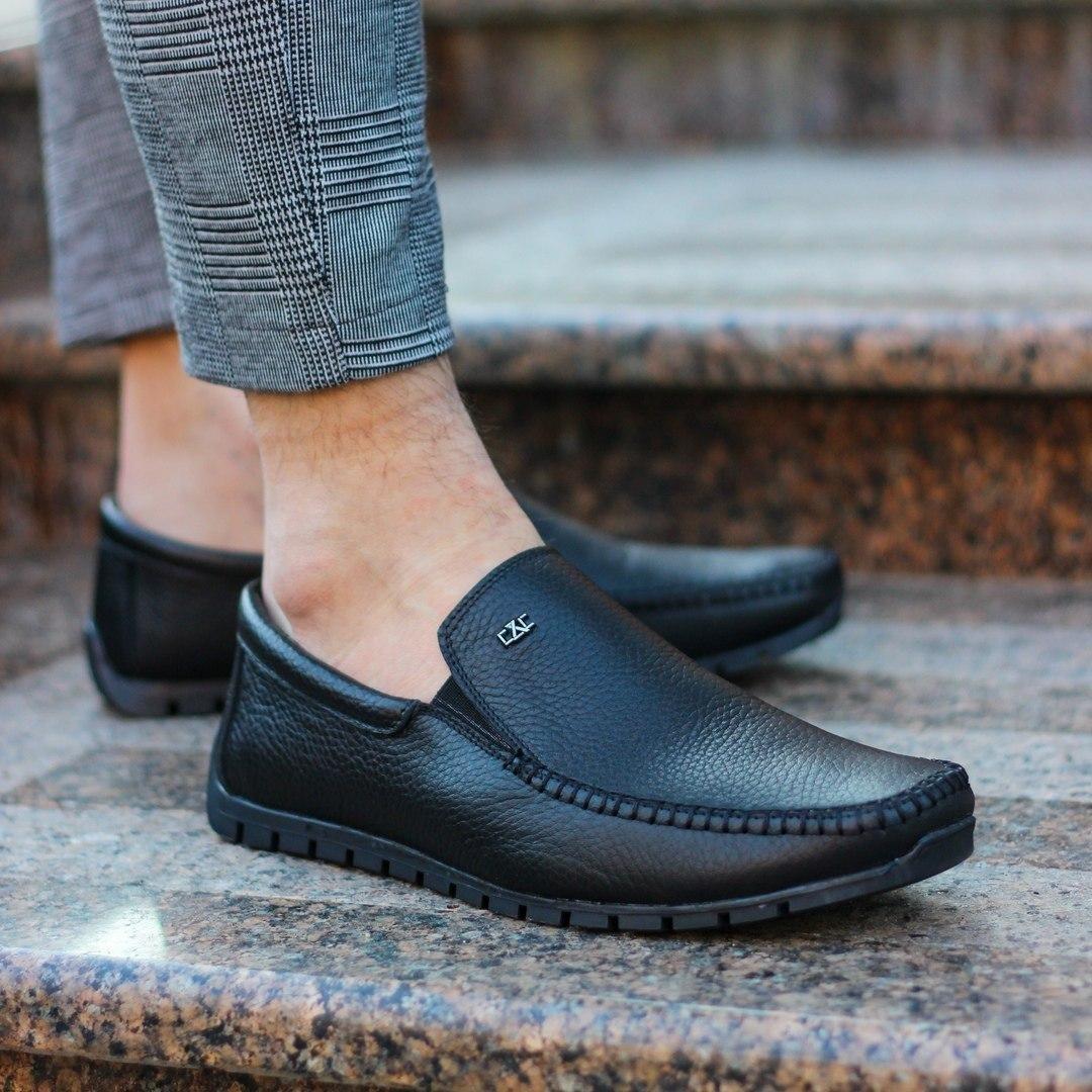 Мужские кожаные мокасины черные Vidlik