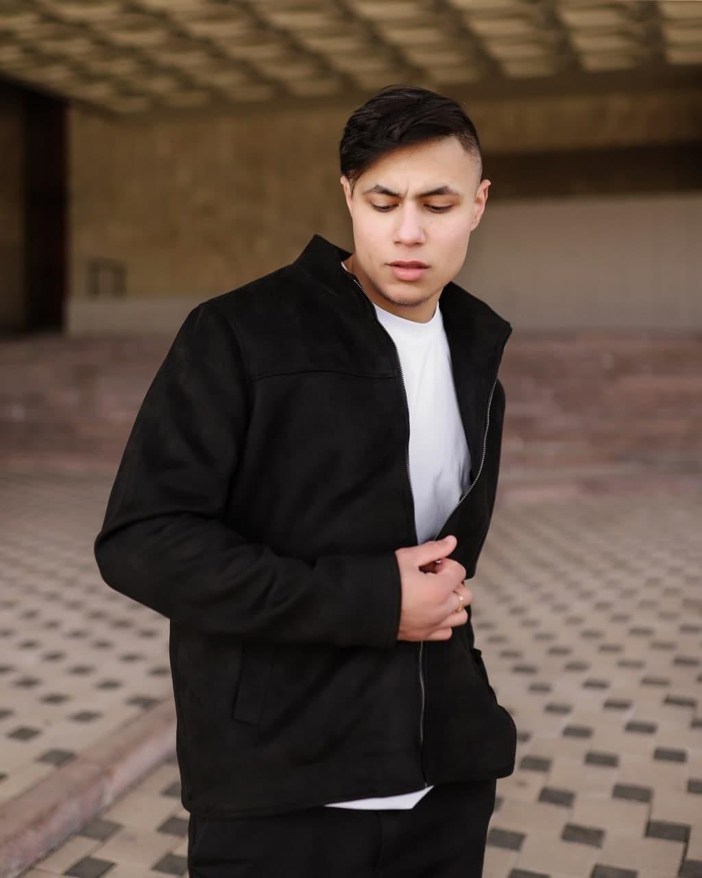 Мужская куртка из искусственной замши VIDLIK Suede черная