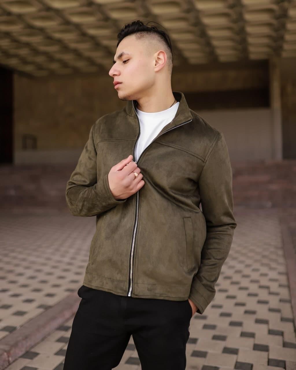 Мужская куртка из искусственной замши VIDLIK Suede хаки