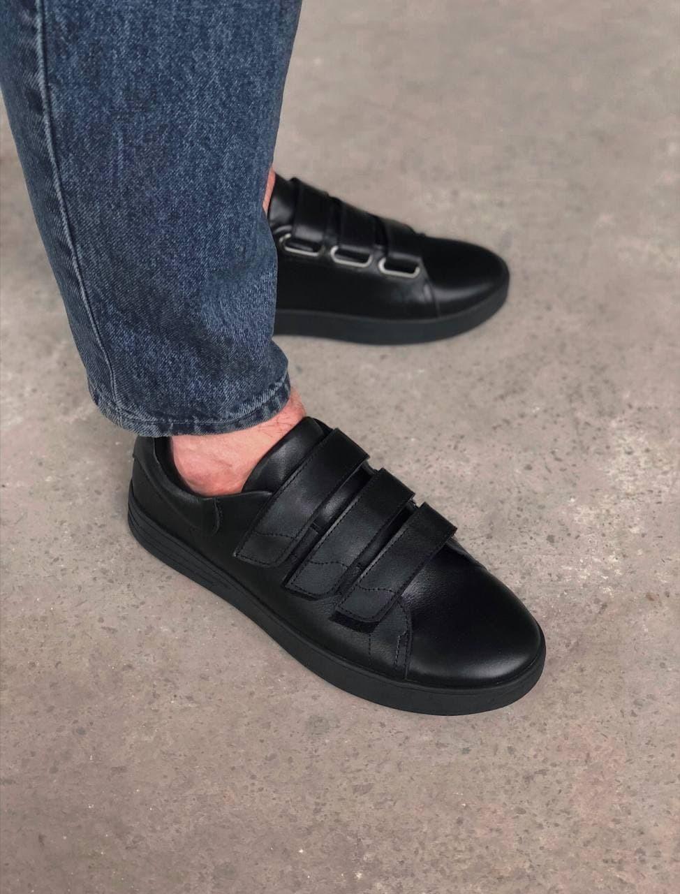 Мужские кеды кожаные на липучках 010 черные Vidlik