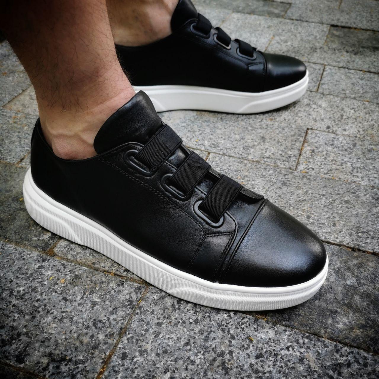 Мужские кеды кожаные на резинках F01 черные Vidlik