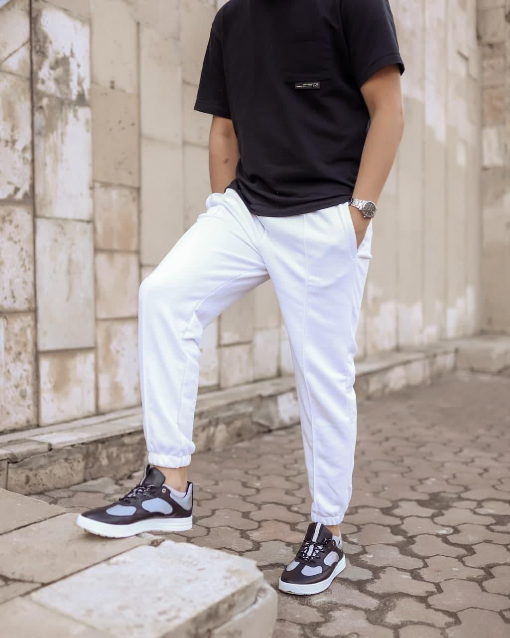 Мужские трикотажные спортивные штаны Seam белые Vidlik