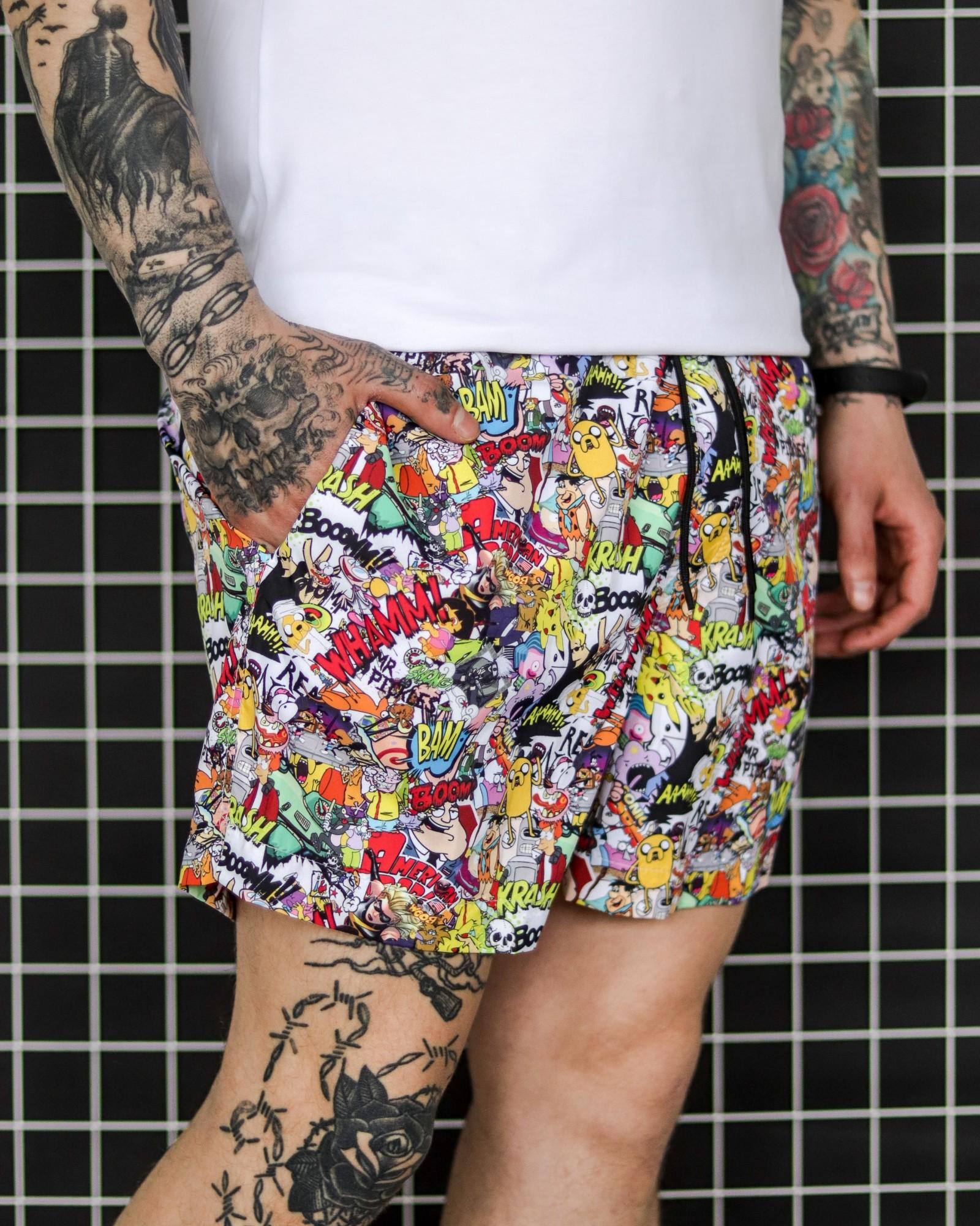 Мужские пляжные шорты для плавания с принтами Comics разноцветные Vidlik