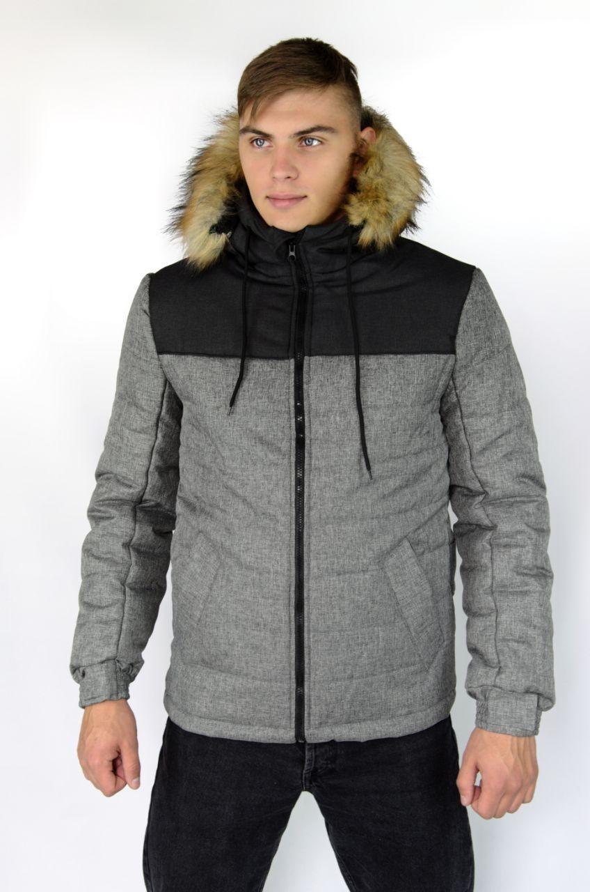Куртка мужская зимняя Аляска серая-черная Intruder