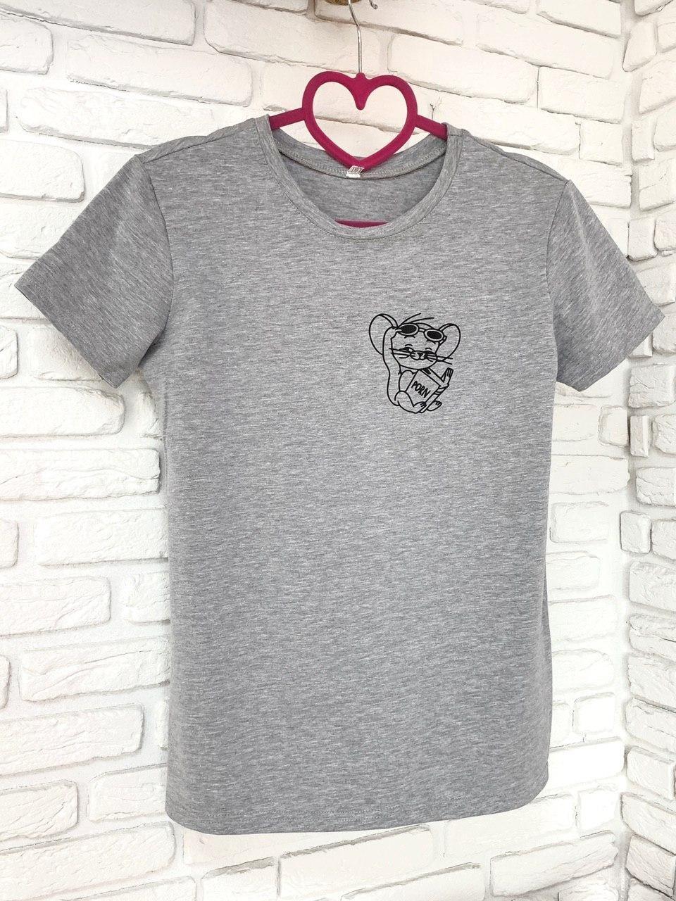 Женская футболка хлопок с принтом Jerry серая S Intruder