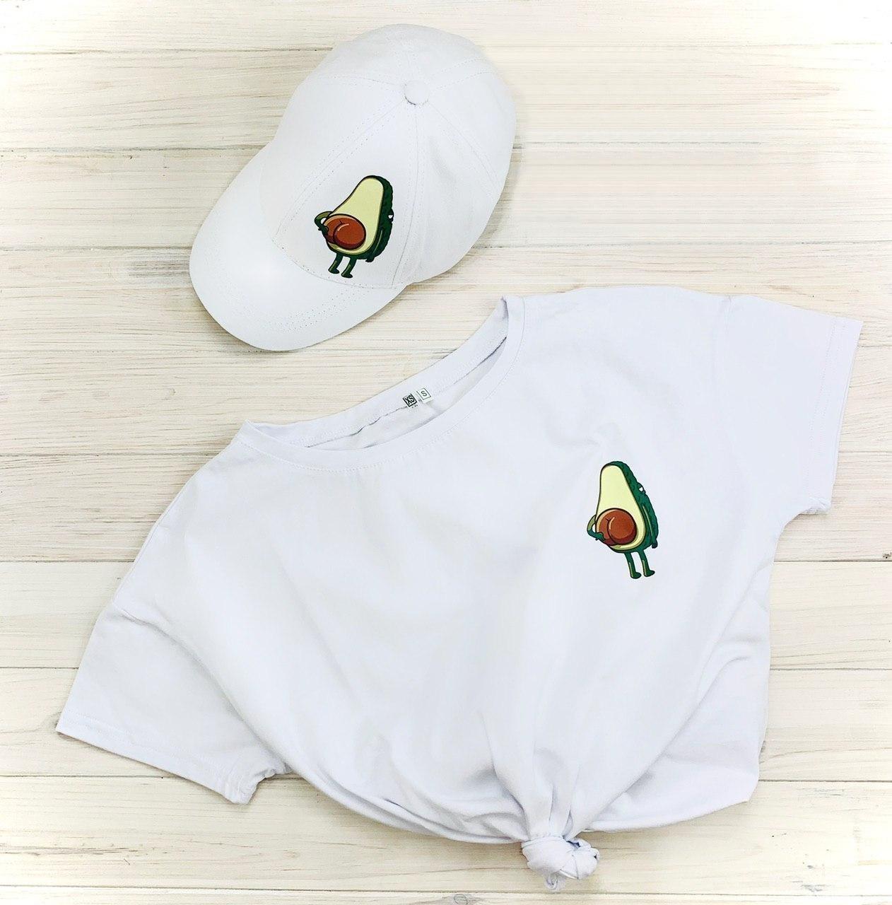 Женская Футболка, кепка с принтом Авокадо Avocado Комплект белый
