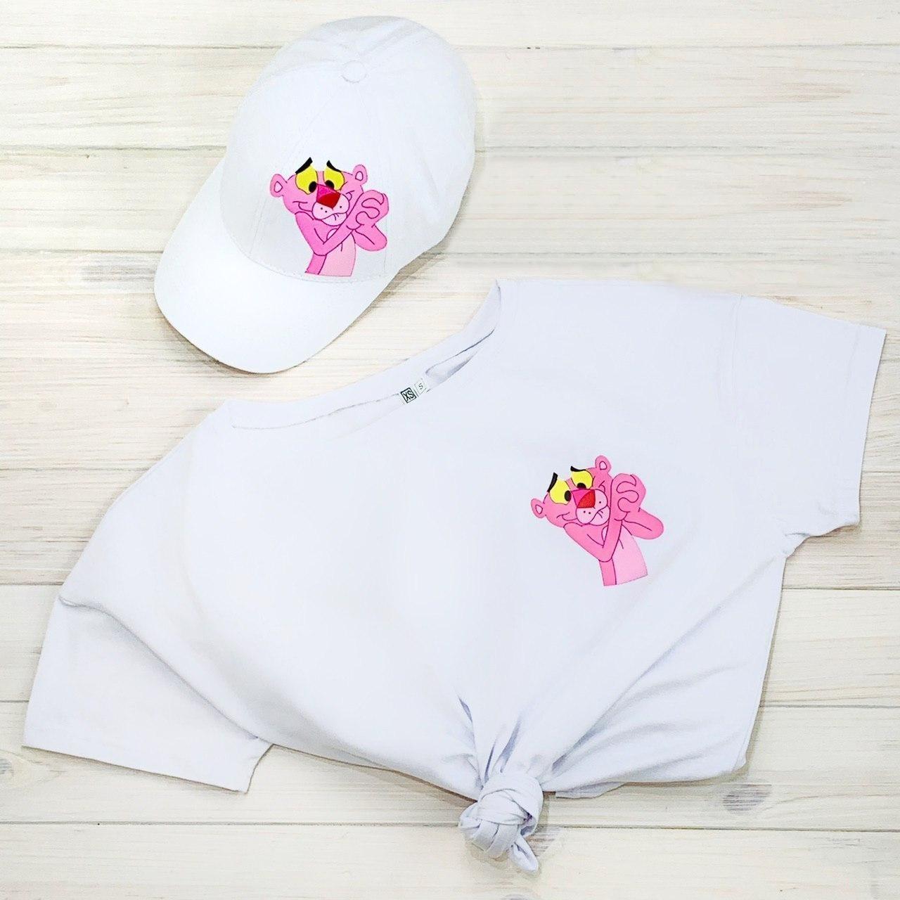 Женская Футболка, кепка с принтом Pink Panther розовая пантера белая